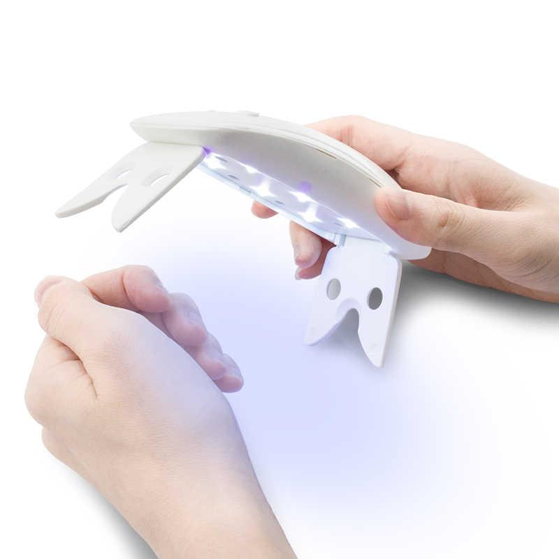 Mini Piegato Cordless 6 w UV HA CONDOTTO LA Lampada Senza Fili Dryer Portatile Ricaricabile Che Cura Polacco Del Chiodo Asciutto LED Gel Polish 6 watt