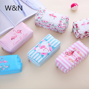 Flamingos Pencil Case Canvas Pencil Bag School Pencil Case for Girls Big Pencil Box Cosmetic Bag School Stationery Supplies Gift