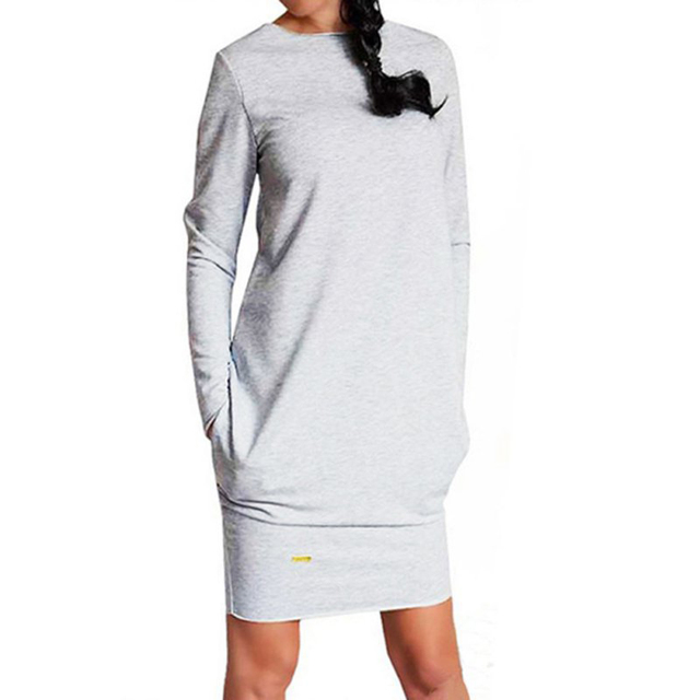 Female Autumn Long Sleeve Dress With Pockets Casual O-Neck Pure Color Clothing 2020 Fashion Gray Black Knee-length Dresses  2XL 4