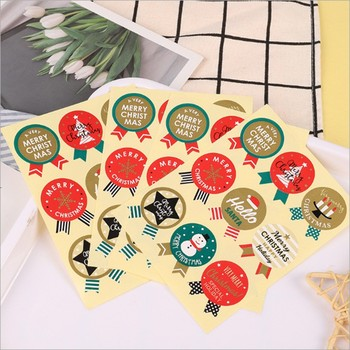 90PCS/Lot Mixed design Christmas Medal Stickers Kraft Label Sticker DIY Hand Made For Gift Cake Baking Sealing Sticker 80pcs 10sheet thank you label stickers kraft label sticker diameter for diy hand made for gift cake sealing hang tag