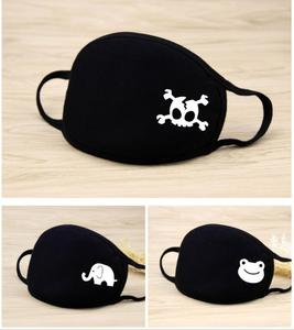 Image 5 - Unisex Winter Thicken Cotton Half Face Mouth Mask Black Cartoon Animal Mask Printed  Dustproof Cycling Muffle Mask 20*12.5CM
