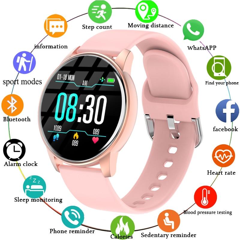 Смарт-часы для женщин сердечного ритма Smartwatch крови Давление монитор Водонепроницаемый шагомер часы для мужчин напоминание поддерживает телефон