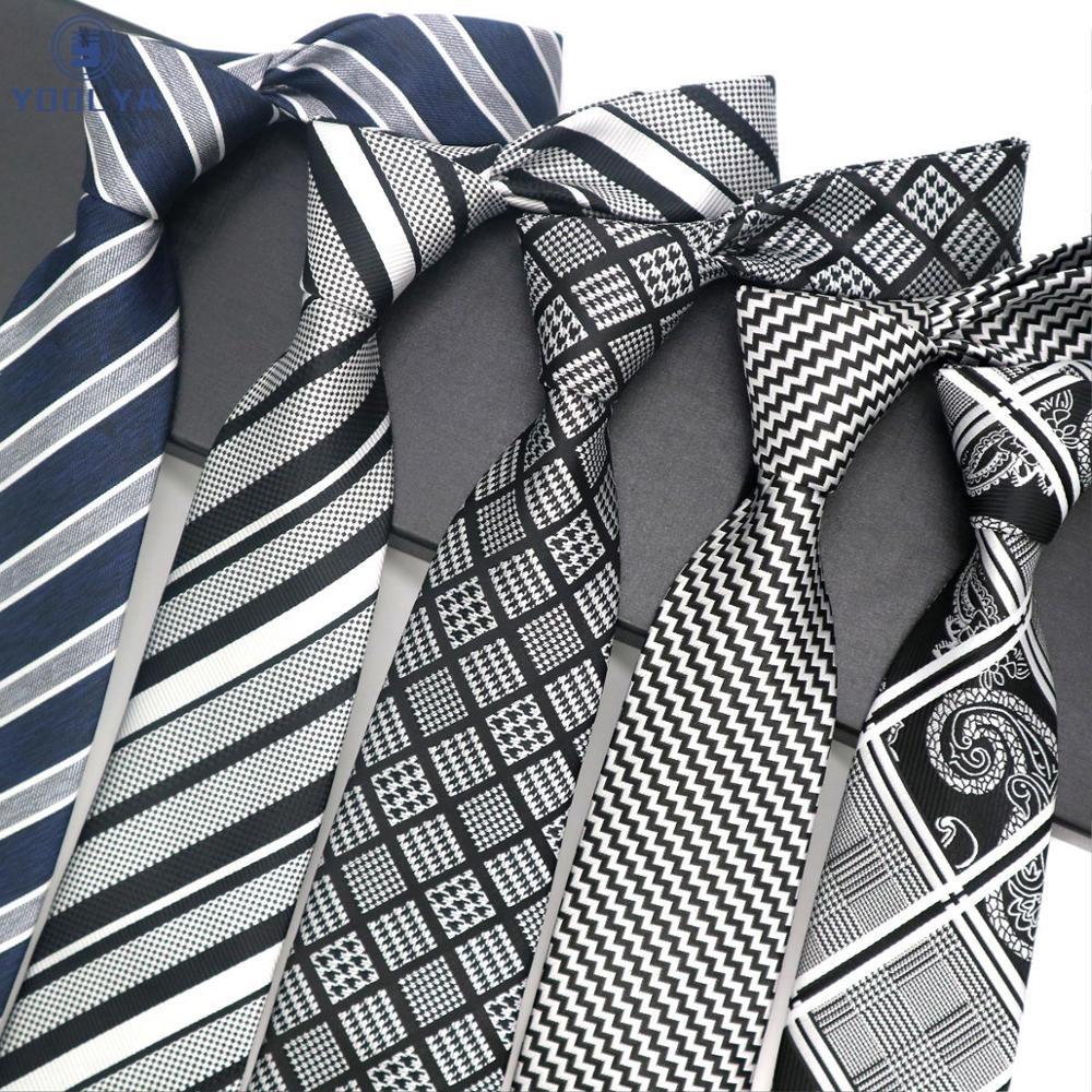 Luxury Mens Tie 8CM Black Navy Gray Striped Silk Neckwear Jacquard Woven Neck Ties For Men Formal Business Wedding Party Necktie