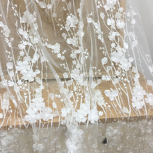 1 Yard Exquisite 3D Full blossom sequin lace fabric in off white for wedding, prom dress couture