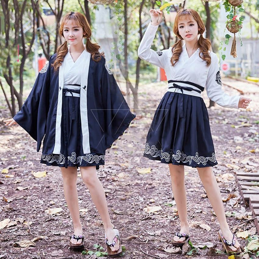 Samurai Crane Kaiwaii Girls Yukata Gothic Dress For Women Japanese Style Festival Of Sakura Haori Kimono Full Short Sleeve