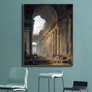 Canvas Wall Art Old Temple By Hubert Robert Painting Classic Art Reproductions  3