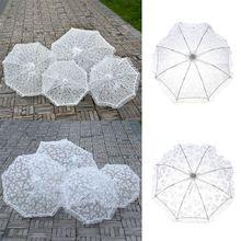New Fashion Lace Umbrella Cotton Embroidery White/Ivory Parasol Wedding Decorations