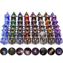Набор игральных костей DnD Galaxy Nebula, многогранные кости со шнурком, мешок для игральных костей для настольных игр, ролевая игра D & D MTG