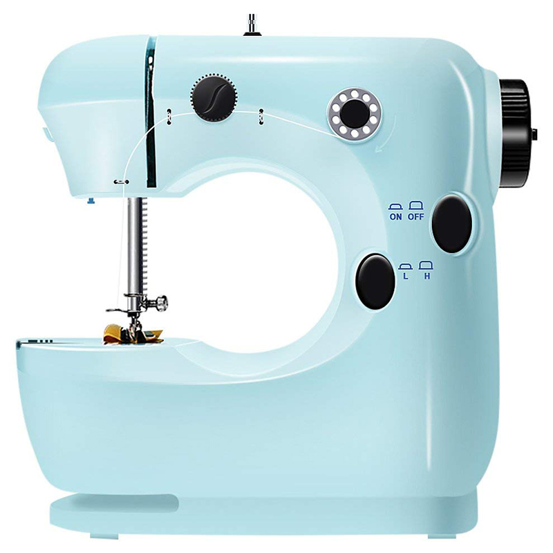 Mini Beginner Sewing Machine, 2 Speed Embroidery Stitching Heavy Duty Quilting Machine Easy To Use,Foot Pedal Operation - Blue E image