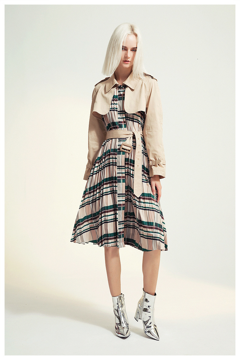 [EAM] Women Belt Pleated Hit Color Trench New Lapel Long Sleeve Loose Fit Windbreaker Fashion Tide Autumn Winter 19 1B096 8