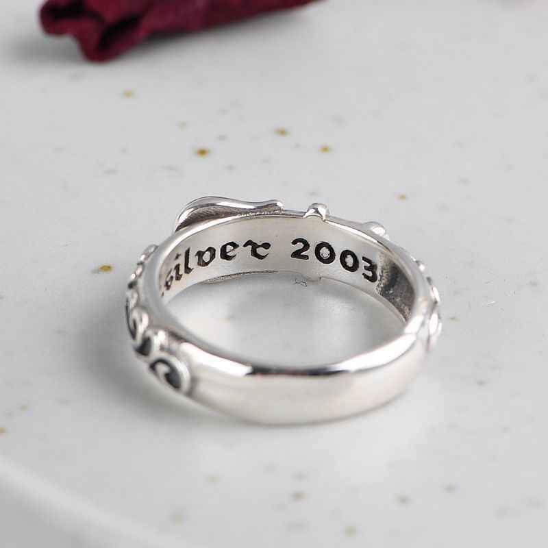 BALMORA Real 999 เงิน Retro เข็มขัดรูปแบบเปิดซ้อนแหวนผู้ชายผู้หญิงแฟชั่นดอกไม้เครื่องประดับคริสต์มาสของขวัญ