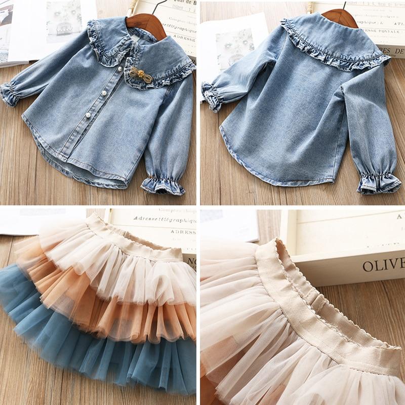 IYEAL Girls Clothing Sets 2021 New Spring Kids Clothes Long Sleeve Denim Shirts+Tutu Cake Skirt 2Pcs Children Toddler Outfit 4