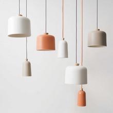 Nordic creative orange white aluminum paint single head chandelier for restaurant wood decoration LED E27 hanging lighting