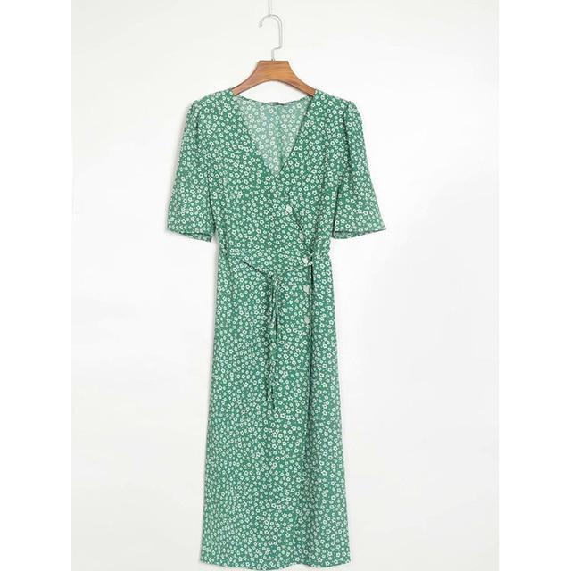 Vintage Rouje Gabin Dress With Sashes V Neck 5