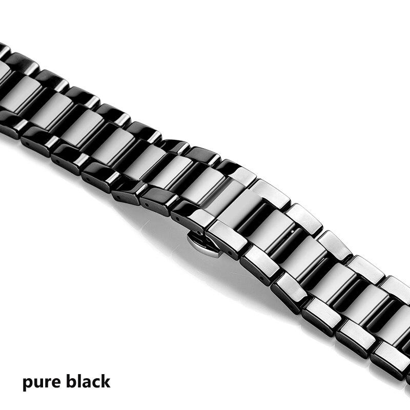 Керамический ремешок для часов для xiaomi smart watch сменный ремешок для mi часы браслет-цепочка ремешок аксессуары - Цвет ремешка: pure black