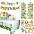 Woodland Jungle Animal Party Decoration Jungle Safari Birthday Party Happy Birthday Banner Kid Zoo One 1st Birthday Forest Favor
