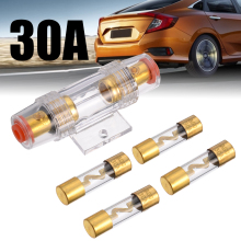все цены на 1pcs 30A Car Audio AGU Fuse Holder with 4 Fuses 30A Car Automobile Safety Seat Insurance Set онлайн