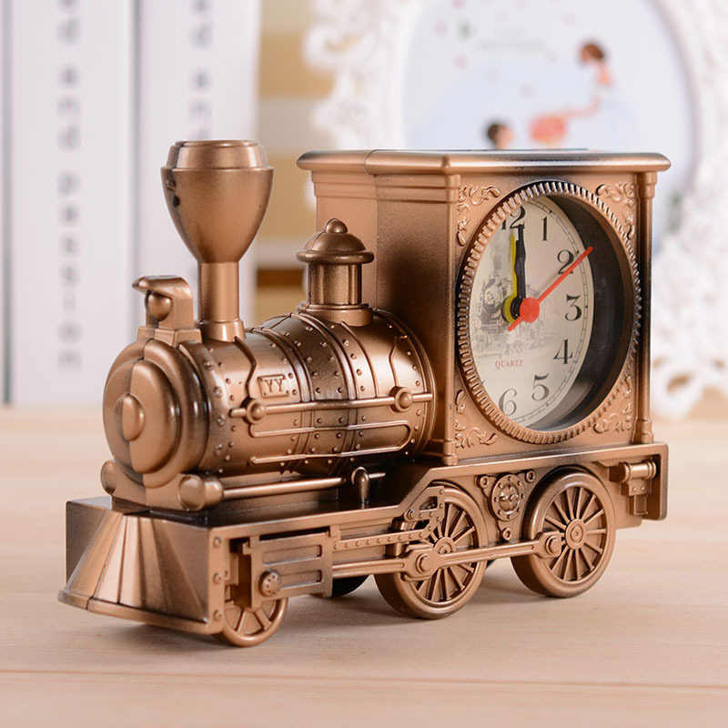 Vintage Home Clock Fashion Personalized Golden Retro Steam Train Motorcycle Model Bedroom Desk Alarm Clock Best Gifts