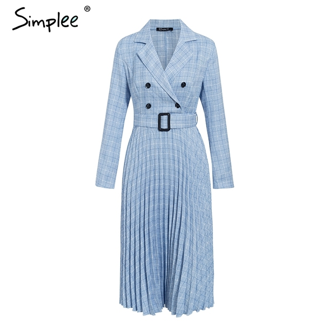 Simplee A-line v-neck blazer women midi dress Elegant long sleeve button sash female blazer dress Pleated office ladies dress 4