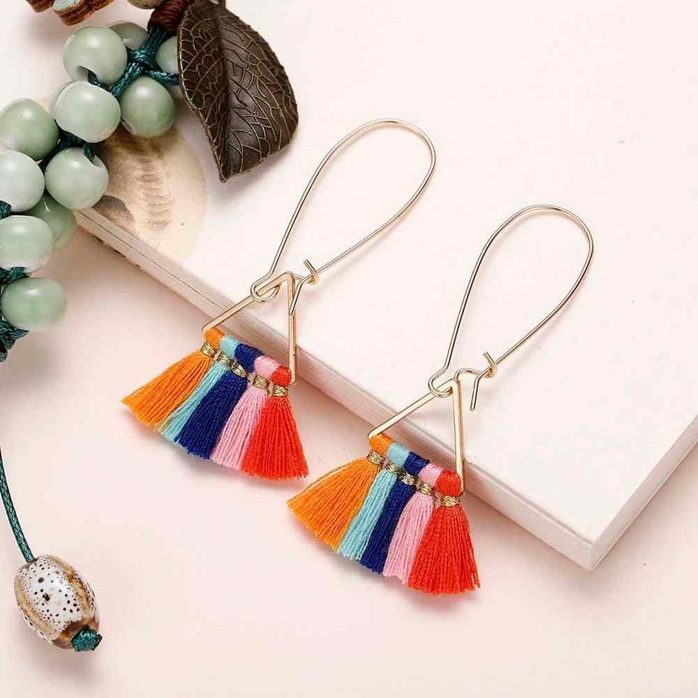 Chandler bohème ethnique été Long gland boucles d'oreilles femmes 10 couleurs nuptiale frangée Vintage Long Dangle Earrinng cadeaux en gros