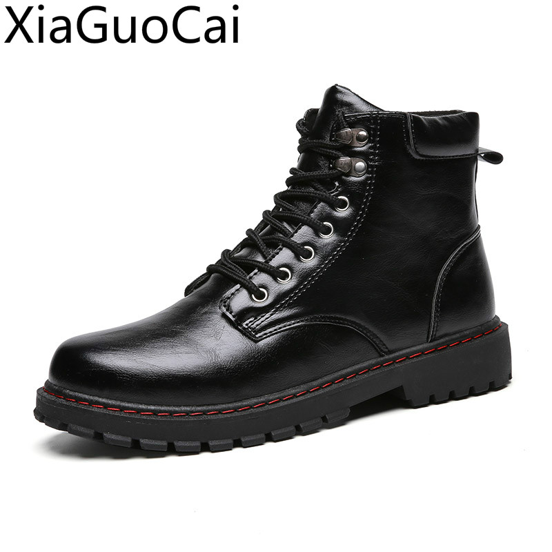 Black High Top New Outdoor Mens Martin Boots Army Tooling Black Male Leather Ankle Boots Men's Motorcycle Boots