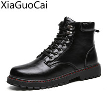 Black High Top New Outdoor Mens Martin Boots Army Tooling Black Male Leather Ank