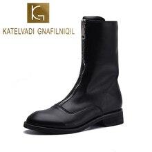 KATELVADI Winter Boots Women Square Heels Zipper Front Fashion Black PU Leather Ankle Shoes Woman Plus Size K-519
