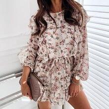 Осень Бохо с каскадными оборками Цветочный принт платье женское