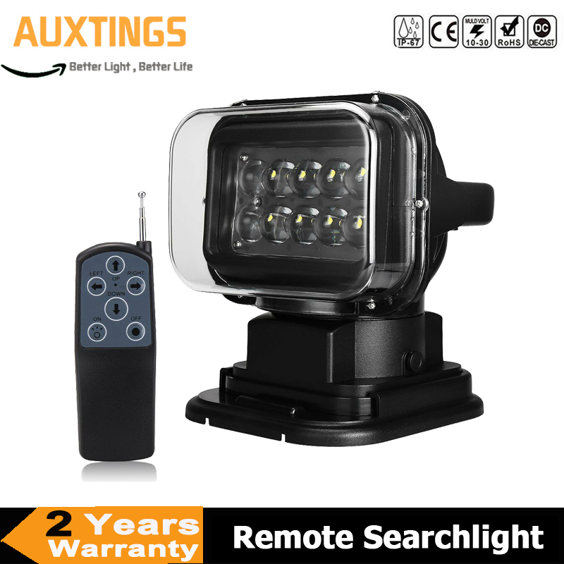 50W 360 Degree Remote control LED Searchlight Rotate Spotlight Light Wireless Emergency For Truck Off road SUV Boat Vehicle image