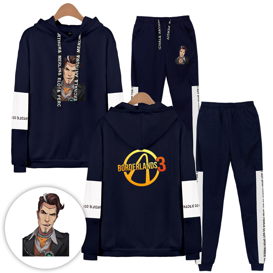 New Style Borderlands 3 Borderlands Street Fashion Hooded Sweater Ankle Banded Pants Set
