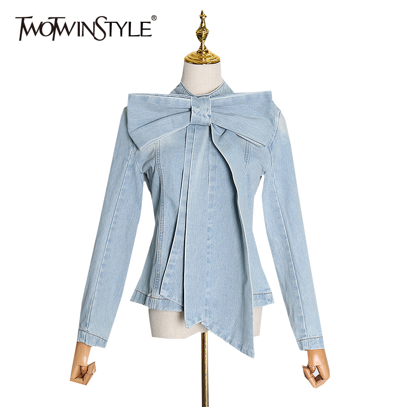 TWOTWINSTYLE Bowknot Denim Shirt For Women Stand Collar Long Sleeve Zipper Casual Spring Blouse Female New Fashion Clothing 2020