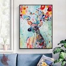 Картина на холсте с изображением цветного оленя масляные постеры
