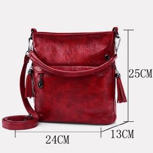 Image 4 - Soft Retro Tote Oil Leather Bucket Sac Luxury Handbags Women Bags Designer Ladies Shoulder Crossbody Hand Bags for Women 2020