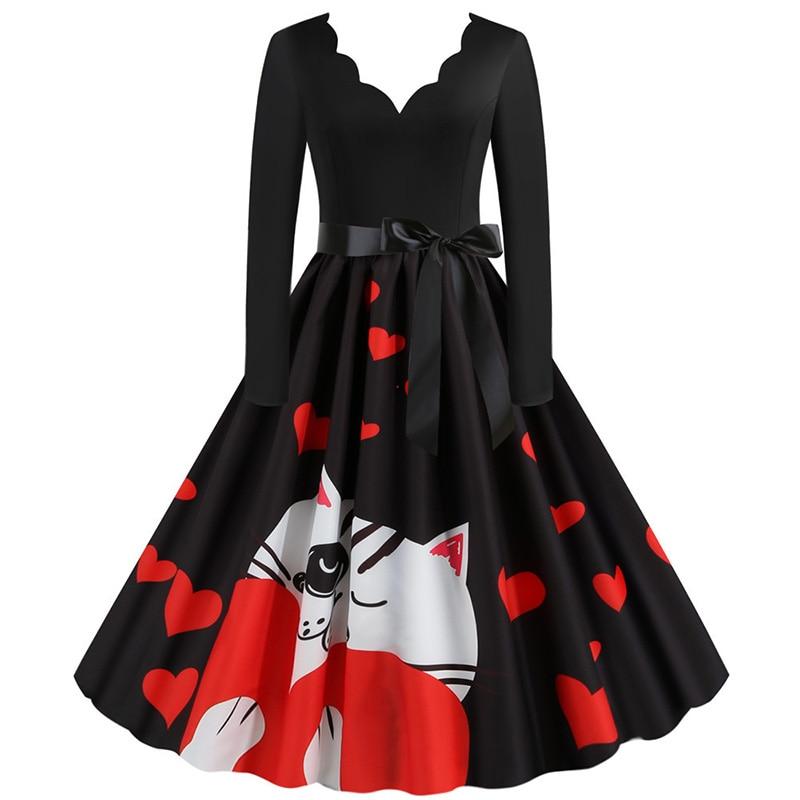 Women Long Sleeve Winter Vintage Dresses Sexy Black Music Note Print V-neck Rockabilly Pin up Party Dress Vestidos Plus size 597