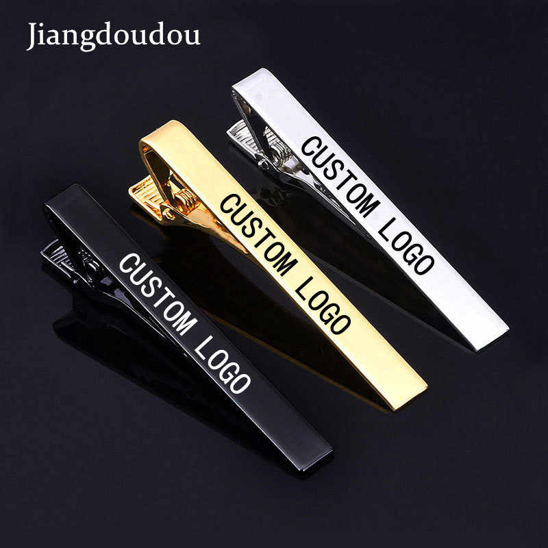 DIY Logo 5.8*0.6cm Tie Clip Laser Engraving Sport LOGO for Men Titanium Steel Silver Gold  Business Tie Pin Clasp Necktie