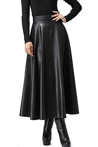 Женские длинные юбки из искусственной кожи на осень, зиму и весну, женские юбки средней длины с высокой талией, юбки макси размера плюс