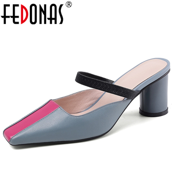 FEDONAS Elegant Sweet Fashion Concise Women Cow Leather Pumps Wedding Casual Round Heel Slingbacks 2020 Spring New Shoes Woman