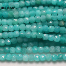 Gem-Stone-Beads Faceted Amazonite Natural Jewelry-Making Loose Wholesale for Cube-Strand