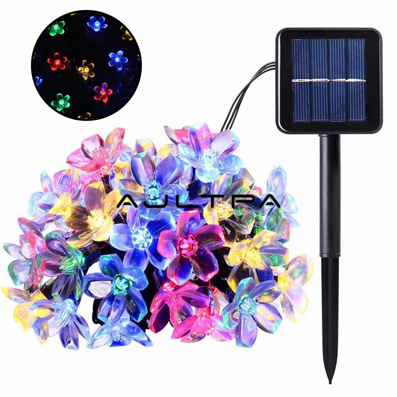 80pcs Solar String 50LED Flowers Fairy Lights 7m Waterproof Outdoor Solar String Lights Decorated Garden Christmas Holiday Light