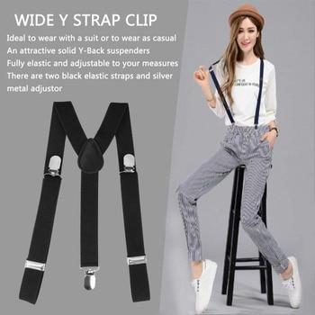 Suspender Adjustable Brace Clip-on Unisex Men Women Pants Braces Straps Fully Elastic Y-back Belt 2020