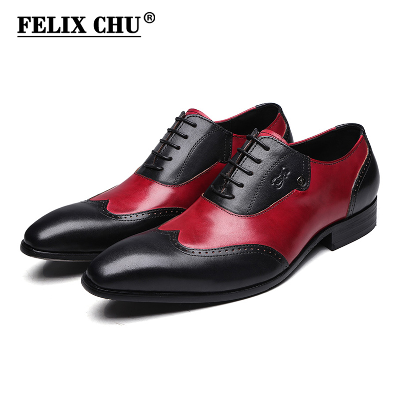 FELIX CHU Modern Gentlemen Formal Oxfords Genuine Leather Mens Wedding Party Black Red Dress Shoes Man Wingtip Brogue #185-810