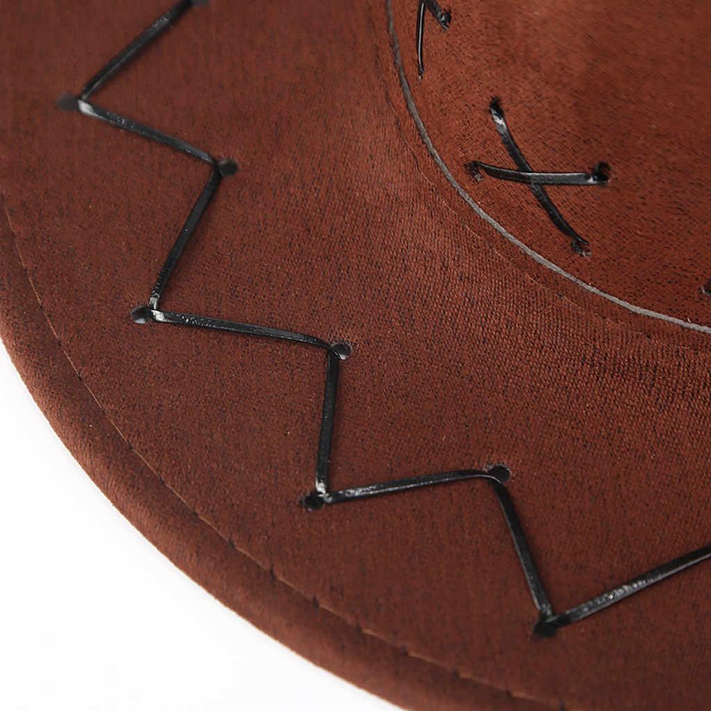 Retro Unisex Trưởng Thành Tây Da Bò Chắc Chắn Áo Mũ Mông Cổ Mũ Đồng Cỏ Tấm Che Nắng Nón Nữ Đi Biển Mùa Hè Du Lịch Mũ Trang Phục Hóa Trang