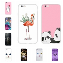 For Apple iPhone 5 5s SE Case Slim Soft TPU Silicone For Apple iPhone 6 6s Cover Flamingo Patterned For iPhone 5 5s SE 6 6s Capa цена