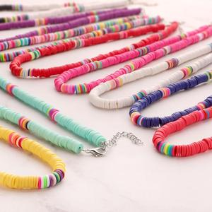 12 Colors Boho Heisi Surfer Choker Polymer Clay Necklace Soft Pottery Choker Necklace Colorful Beads Collar Beach Jewelry Gifts