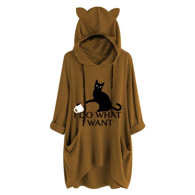 #Z40 Plus Size 5XL Hoodies Women Cartoon Print Cat Ear Hooded Long Sleeve Pocket Loose Sweatshirts Tracksuit Spring Autumn Tops 3
