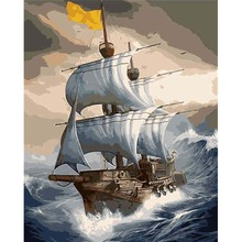 Sailing Boat DIY Painting By Numbers oil painting on canvas Handmade Canvas Paintings Wall Pictures For Living Room