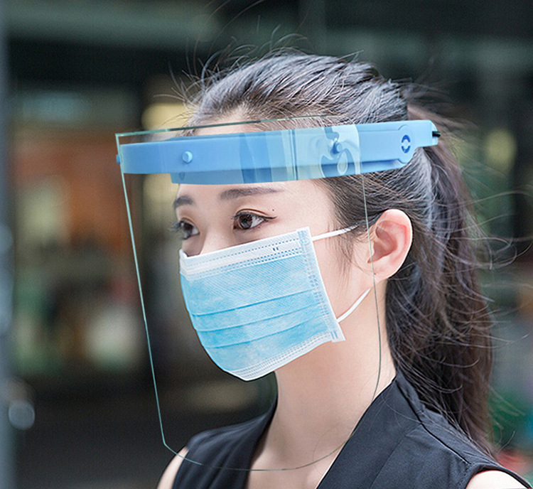 Adult Faceshields Protective Full Face Cover Face Shield Dust-proof Oil-proof Adjustable Transparent Face Mask Plastic
