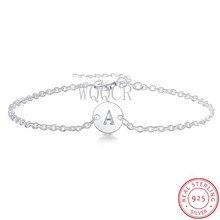 925 prata esterlina A-Z carta pulseira e pulseira para senhoras prata corrente link jóias acessório 26 carta pulseira