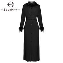 SEQINYY Luxury Feather Dress 2020 Spring Autumn New Fashion Design Long Sleeve High Quality Pure