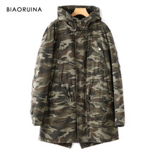 BIAORUINA Women's Militaary Style Camo Thick Warm Lanm Liner Winter Hooded Long Jacket Casual Camouflage Printing Outerwear(China)